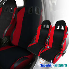JDM Black PVC Leather GT Full Reclinable Buckle Racing Seats w/ Slider Pair
