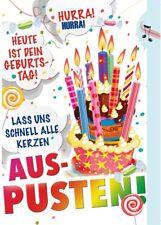 Geburtstagskarte mit Musik, Licht und Funktion. Geburtstagskerze zum ausblasen