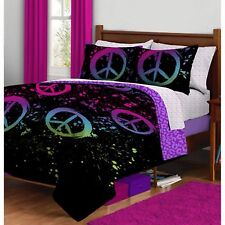 Bedding Set For Girls Twin Size Reversible Teens Bed In a Bag Microfiber Purple