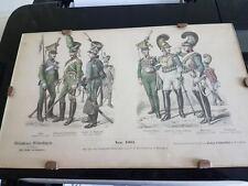 uniformi napoleoniche stampa d'epoca con cornice e vetro