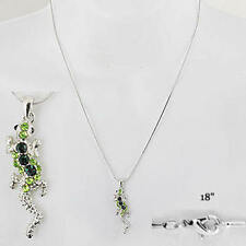 Lizard Alligator Reptile Gecko Green Crystal Gift New Cute Pendant Necklace #489