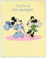 VINTAGE MICKEY MINNIE MOUSE YOU'RE IN THE SPOTLIGHT GIBSON GREETING CARD