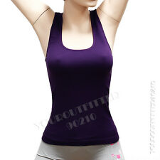 Women Seamless Ribbed Racer Back Stretch Tank Top Sleeveless Tee Sports Yoga Gym