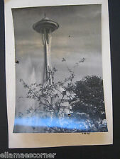 Vintage July 1963 Seattle Space Needle Black and White Picture