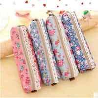 Retro Flower Floral Lace Pencil Pen Case Girl's Cosmetic Makeup Bag Pouch Holder