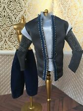 Medieval Blue Chain Mail Armor Velvet Prince Ken Barbie Doll Pants Lot 1/6