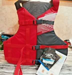 New w Tags Stohlquist Adult Red & White Life Vest Model 11000 Chest 30 - 52""
