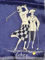 Vintage Ecco 100% Hand Rolled Silk Scarf Art Deco Women Golfers EVC, Free Ship