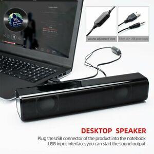 USB 2.0 Wired TV Home Speaker Sound Bar Subwoofer PC Laptop Computer Desktop