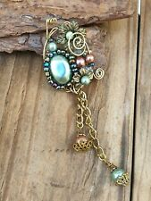Vintage 60s Pearl Gold Abstract Drop Brooch Pin Costume Jewellery Retro Jewelry