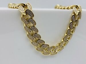 """SOLID 9CT YELLOW GOLD 10MM DIAMOND MENS MIAMI CUBAN CURB CHAIN NECKLACE 24"""" NEW"""