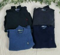 Polo Ralph Lauren Lot Of 4 Mens Pullover Blue Knit Sweater Size M 100% Cotton