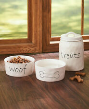 DOG FOOD & WATER BOWL or TREAT CANISTER Pet Pup Food Snack Container Storage Jar