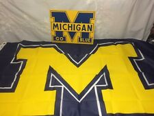 Lot of 2 University Michigan Wolverines Go Blue Sign & Flag Banner