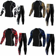 Set Compression Tights T Shirt Track Suit Men Underwear Leggings Gym Fitness Kit