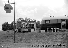 Shell Oil & 7-up Signs, Childersburg, Alabama - 1941 - Vintage Photo Print