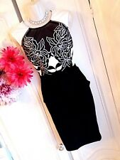 LIPSY SZ 10 MONOCHROME EMBROIDERED PENCIL MIDI LENGTH DRESS BNWT @ NEXT