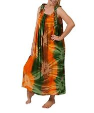 Plus Size Orange/Green Tie Dye Maxi Dress Adjustable  Shoulders Size 16-18-20-22