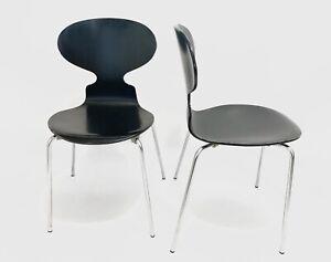 2x Arne Jacobsen By Fritz Hansen Black Ant Chair 3101 Dansish Design