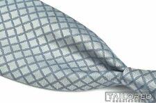 """BVLGARI Silver Geometric Diamond 100% Silk Mens Luxury Tie - 3.625"""""""