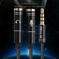Headset Adapter Y Splitter Jack Cable w/ Separate Mic and Audio Headphone 3.5mm