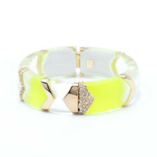 Alexis Bittar Encrusted Chevron Sectioned Neon Yellow Hinged Bracelet