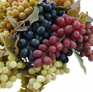 """RBbArtificial Grapes Clusters Faux Fruit Realistic ColorfulPurple Red Rubber 8"""""""