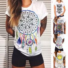 Bohemia Printed Women Casual Short Sleeve Crew Neck Cotton T-Shirt Blouse Tops