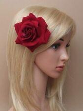 Bordeaux rouge tête pince à cheveux plume chapeau 6131 mariage courses fleur rose boho
