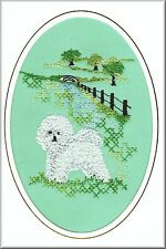Bichon Frise Birthday Card Embroidered by Dogmania