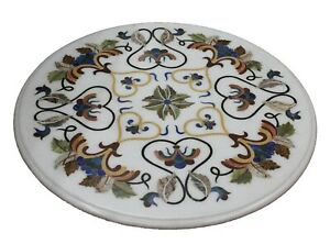 Marble Dining Table Top Hand Inlay Lapis Jasper Quartz Floral Outdoor Home Decor