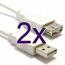 2m USB 2.0 High Speed Cable Extension Lead a Plug to Socket White