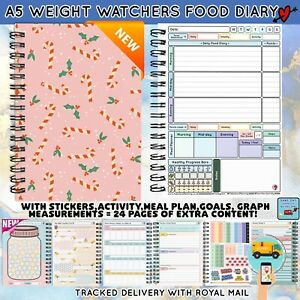 12 WK Diet Food Diary WEIGHT WATCHERS Compatible Journal Planner Book WW A5