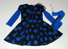 NWT Mim Pi Boutique Who Let The Dogs Out Blue Black Polka Dot Dress~Tights 110 5