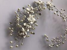 Women White Wedding Bride Bridal Pearl white Flower Party Hair Headband comb pin