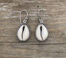 Sterling Silver Cowrie Shell Earrings - Sea Shell Boho Bohemian Jewelry