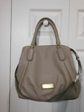 NWT Marc by Marc Jacobs $448 Q Fran Leather Satchel Tote Shoulder Bag, Cement