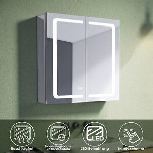 Spiegelschrank Bad mit Beleuchtung Badspiegel LED Beschlagfrei Steckdose 65 Alu