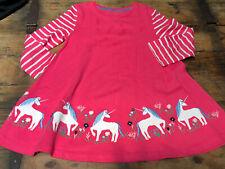 Mini Boden Pink White Stripe Tunic Dress Unicorn Appliqué Girls Size 7/8 Y EUC