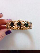 Vintage Yellow/Rose Gold Filled Sterling Green Rhinestone Expansion Bracelet LS