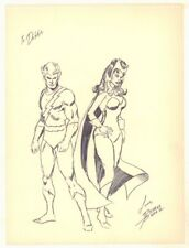 Quicksilver and Wanda the Scarlet Witch Vintage Drawing - art by George Perez
