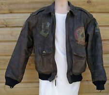Distressed AVIREX Patched Heavy Brown Leather A2 Flying Pilot Aviator Jacket - M