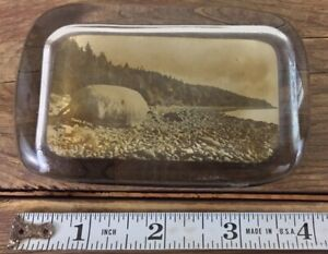 Antique Glass Paperweight Trask Rock Castine Maine Ocean