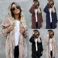 Women Winter Hooded Fluffy Coat Fleece Fur Jacket Loose Cardigan Outerwear