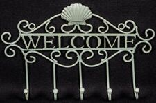 Blue Welcome Key Hook Sign Kitchen Storage Hallway 30cm Seaside Shell Metal New