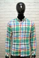TIMBERLAND Camicia 100 % LINO a Quadretti Uomo Taglia L Maglia Camicetta Shirt