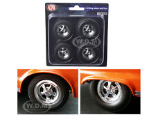 HEMI BULLET CRAGAR DRAG WHEELS AND TIRES SET OF 4 CHROME 1/18 BY ACME A1806702W