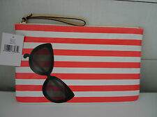 KATE SPADE Striped SUNGLASSES POUCH Bikini CLUTCH Spalsh Out RED Summer BAG New