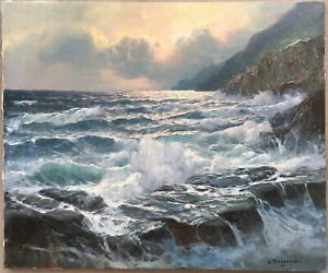 ALEXANDER DZIGURSKI EARLY CALIFORNIA ROCKY COAST SEASCAPE PAINTING WITH BOOK