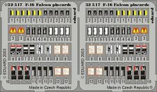 EDUARD MODELS 1/32 Aircraft- F16 Placards for HSG (Painted) EDU32517
